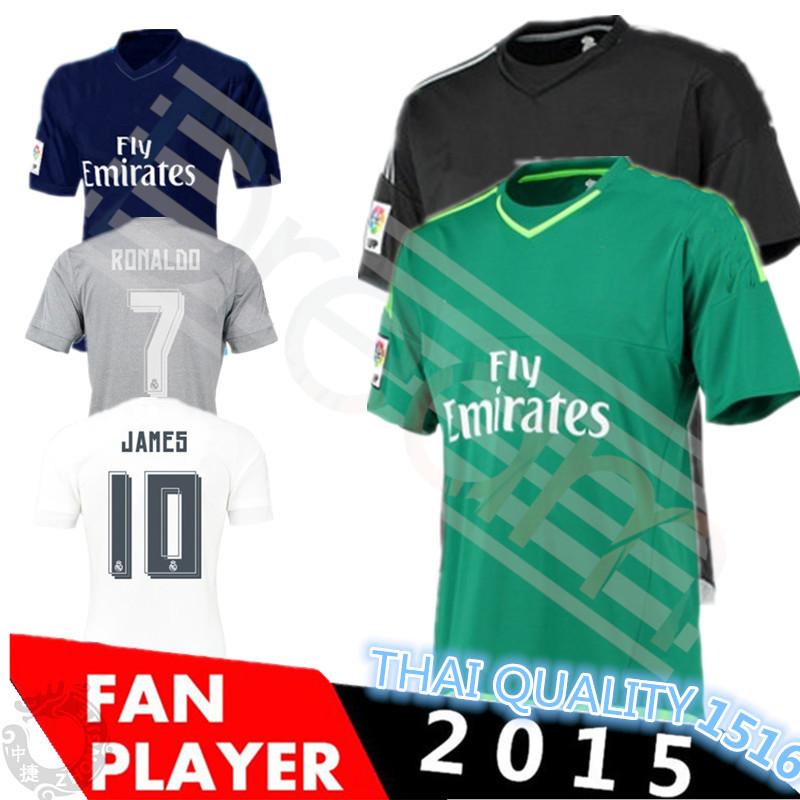 2016 New Real Madrid 15 16 Real Madrid Home away black Soccer jersey BENZEMA KROOS CASILLAS RAMOS RONALDO BALE JAMES ISCO Shirt(China (Mainland))