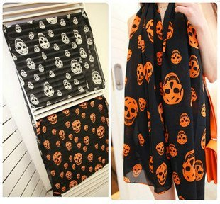 Free Shipping !2015 NEW Style, Fashion Color Skull  Scarf  Long Chiffon Scarf  Women's  Korean Version Silk Scarf,S-058