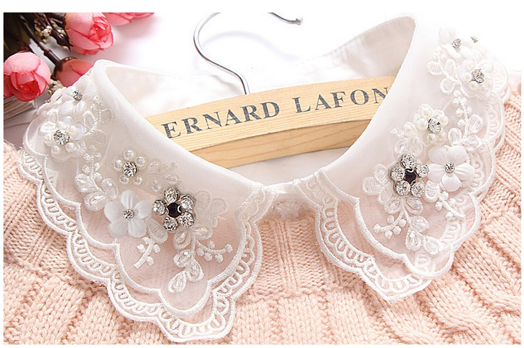 Newest pretty detachable doll shirt collars female crystal lace hollow fake collar shirt wild fashion Custome accessories(China (Mainland))