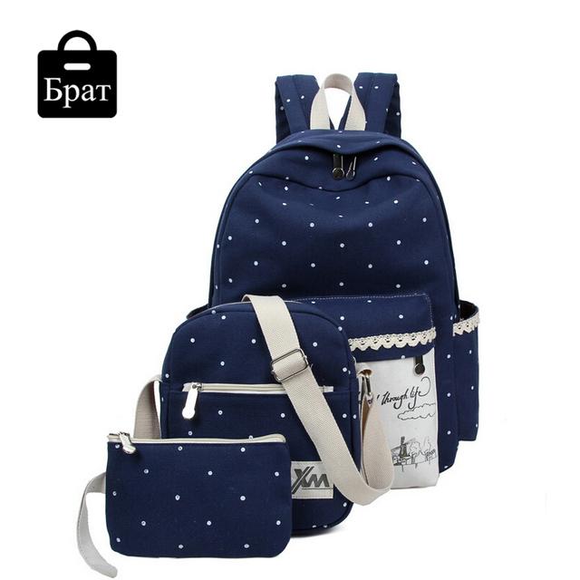 Новых корейских женщин рюкзак комплект свободного покроя печать мешок школы полотна ...