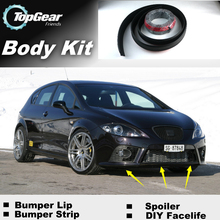 Bumper Lip Deflector Lips For SEAT Leon 1M 1P 5F Front Spoiler Skirt For TopGear Friends to Car Tuning View / Body Kit / Strip(China (Mainland))