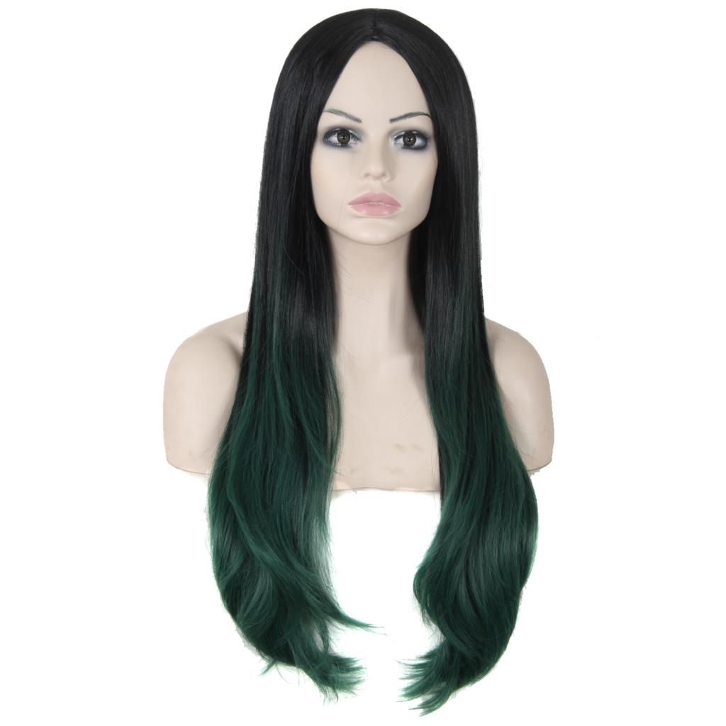 30 New Female Sexy Long Curly Hair Wigs Ombre Green High Quality Heat Resisting Synthetic Wig African American For Black Women<br><br>Aliexpress