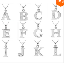 2016 CYPRIS silver necklace English Letter Capital Crystal Stone Pendant Necklace cz stone shine 18inch collares populare joyas(China (Mainland))