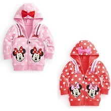 2014 Direct Selling Free Shipping,children Clothes Baby Girl Minnie Mouse Coat Outwear Top Hooded Sweater Jacket For Chirstmas (China (Mainland))