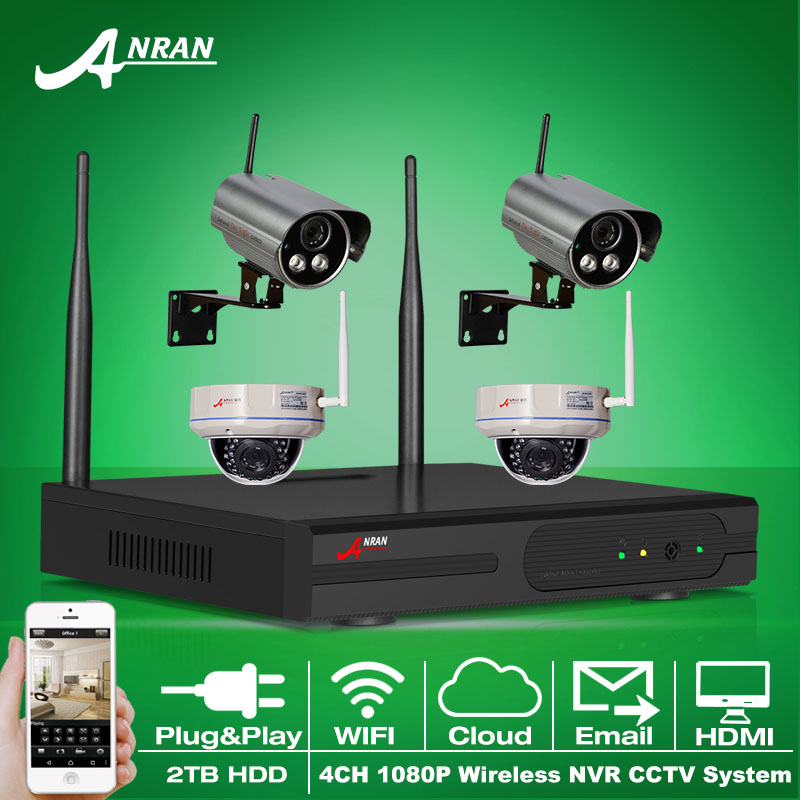 Plug&Play 4CH HDMI NVR Wireless Surveillance System 2TB HDD 1080P 2.0 Megapixels IR Outdoor Indoor Security IP Camera(China (Mainland))