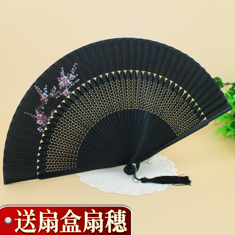 Collapsible Chinese bamboo fan silk folding hand fan craft home decor gift high quality.send gift packging/gifts & crafts(China (Mainland))