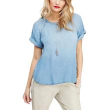 LJ32 Fashion 2015 Women vintage Basic Denim blue blouse shirts short sleeve Street casual tops Female Ladies blouses summer(China (Mainland))