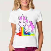 Hepeep brand+2017 Newest summer women's T-shirt Rainbow unicorn design beautiful fashion tops white cute cool tee shirt(China (Mainland))