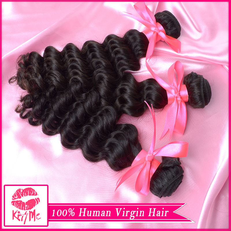human hair weave 3 bundles deep wave virgin hair brazilian deep wave virgin hair wet and wavy virgin brazilian hair(China (Mainland))