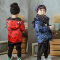 2016 new Camouflage shark hoodie jacket kids winter coat baby girls Windbreaker boys clothes down coat