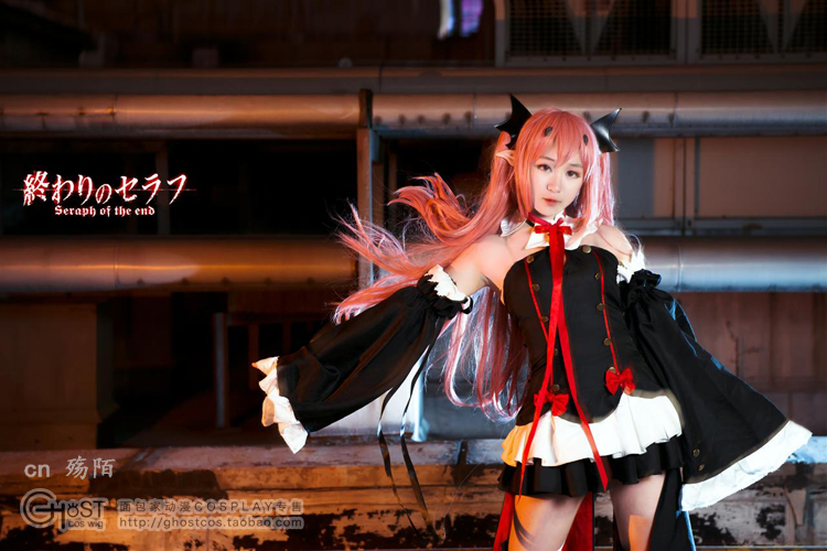 Anime Owari No Seraph Cosplay Krul Tepes Cos Halloween Pink wigs and hair accessories Owari No Seraph Party