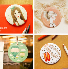 30pcs/lot Sweet lovely girl hand round Mirror/Portable pocket cosmetic mirror/ Home Decor mirror/JZ004(China (Mainland))