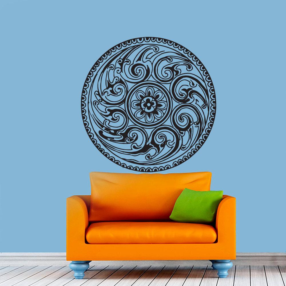 Mandala Wall Stickers Indian Round Pattern Leaf Vinyl Decal Namaste Yoga Art Decor Home Office GYM Dorm Living Room Murals(China (Mainland))