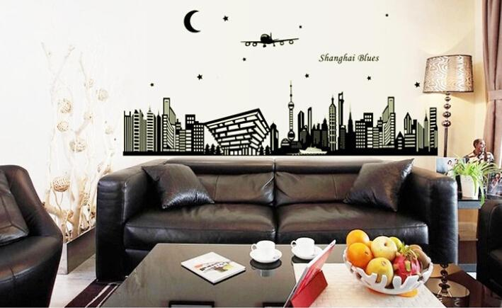 ABQ9636 Shanghai Night Scene DIY Removable Wallpaper Fluorescent Luminous Oriental Pearl Wall Stickers Living Room Mural Decal(China (Mainland))