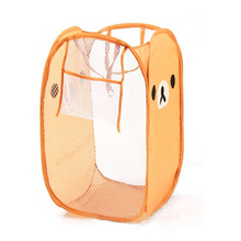Wholesale 5pcs( Foldable Pop Up Mesh Clothes Laundry Toy Basket Storage Hamper Bin Bag Brown(China (Mainland))