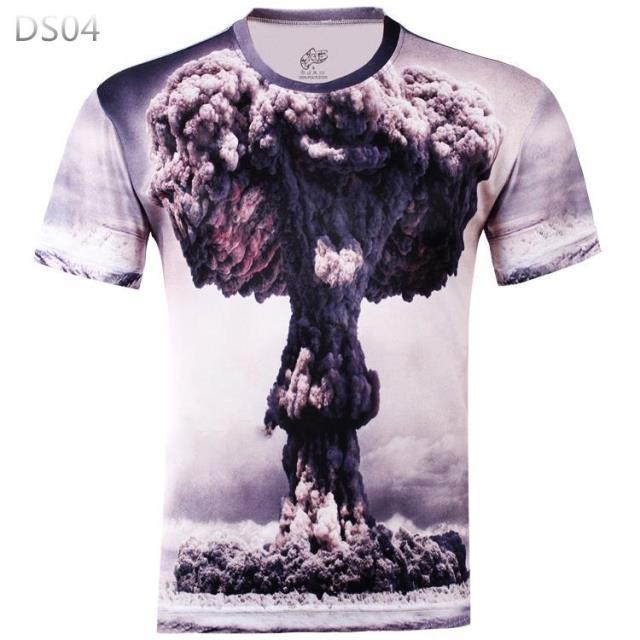 Summer Style Nuclear Weapon Bomb 3D Explosion effect Creative T shirt Men Short Sleeve Casual T Shirts Animal(China (Mainland))