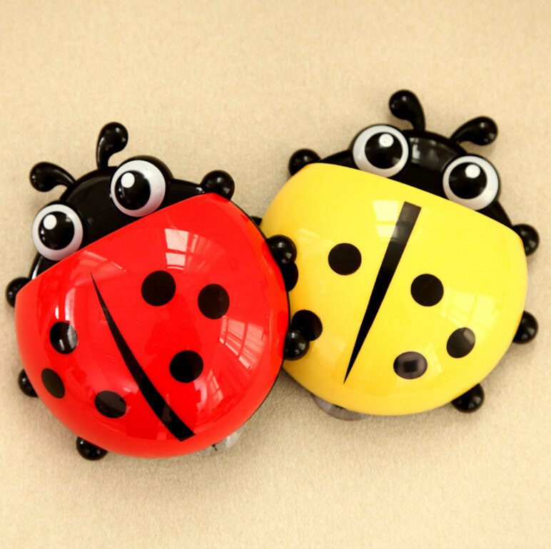 Lovely Ladybug Toothbrush Holder Wall Suction cup Cartoon Sucker Suction Hooks Bathroom Sets
