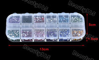 Free Shipping New 3000pcs Mix 12 Colors 1.5mm Circle Beads Nail Art Rhinestones Glitters Nail Art Gems Decoration Supplier Tools