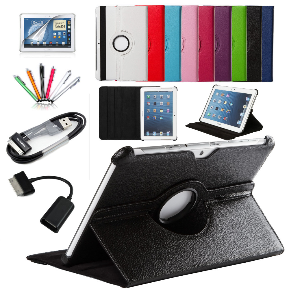 7 in 1 For Samsung Galaxy Tab 2 10.1 P5100 P5110 P7500 P7510 Smart Tablet PU Leather Case Cover 360 Rotating+Micro OTG+USB cable(China (Mainland))
