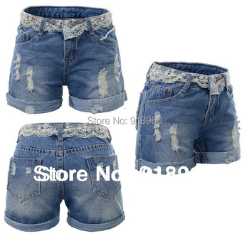 plus size XXL~9XL waman short waist lace  shorts,oversize sexy ladies' denim short jeans,shortes femininos