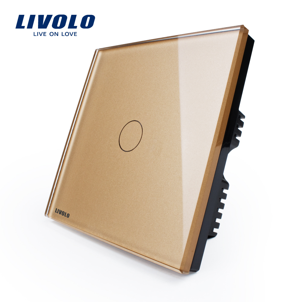 LIVOLO, Touch Switch, Golden Glass Panel,VL-C301-63 ,110~250V 1-gang, UK standard,Wall Switch, with LED indicator<br><br>Aliexpress
