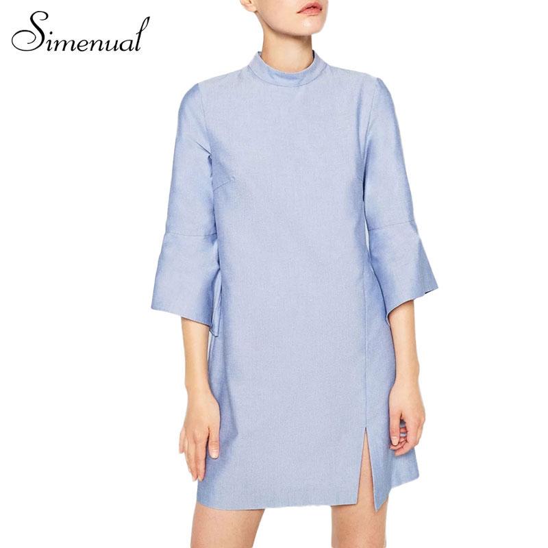Fashion new bell sleeve autumn dress 2016 casual slim solid light blue short dresses for women clothing split ladies vestidos(China (Mainland))