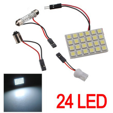 1/2 Set T10 BA9S Festoon Adapters 24 SMD 5050 LED Light  Car Auto Reading Panel Interior Dome Lamp DC12V(China (Mainland))