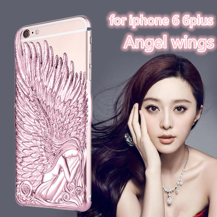 Luxury 3D Angel Wings Metal patten Skin Hard Plating Cover Case For iPhone 6 6 plus Shockproof Protection case(hengfeng012)(China (Mainland))