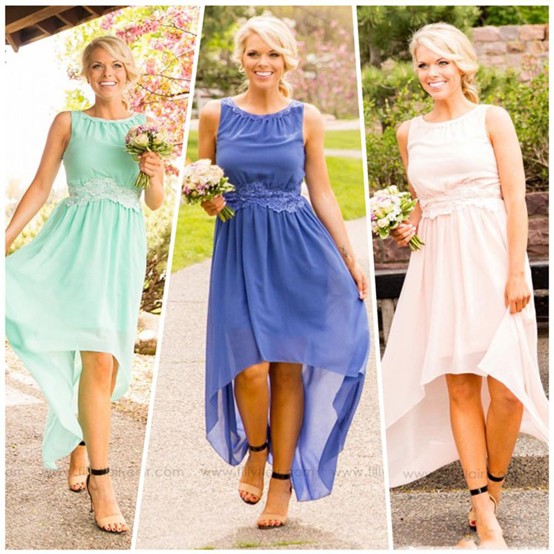 2016 country high low bridesmaid dress mint royal blue for Junior wedding guest dresses for summer