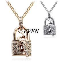 mix lot wholesale Accessories full rhinestone lock key necklace 4547  free shipping