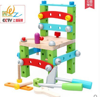 Wood balls assembly nut combination of building blocks lubanjiang chair work chair child puzzle hands-on toys(China (Mainland))