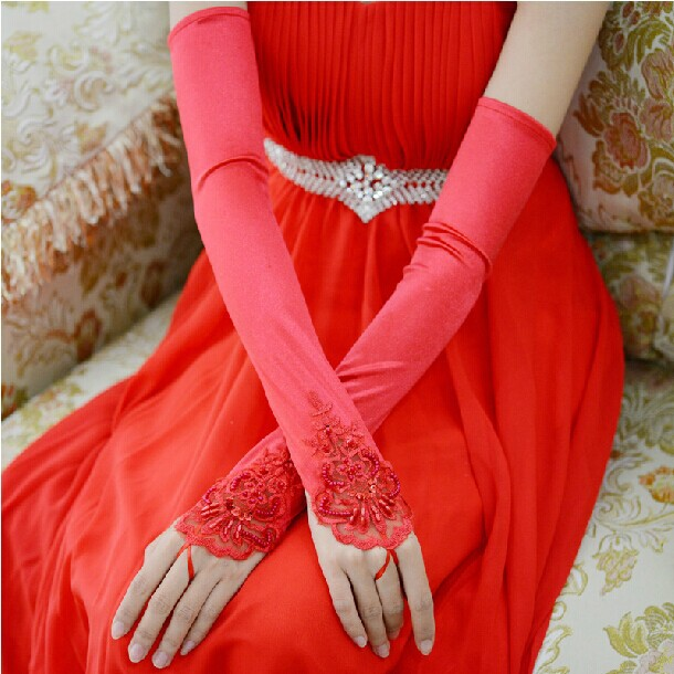 Fashion sexy sequins lace fingerless wedding gloves 2014 for Wedding dress with long gloves