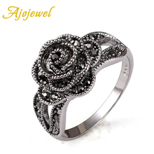 Ajojewel Brand 18K White Gold Plated Vintage Retro Style Crystal Rhinestone Black Flower Finger Ring For Women(China (Mainland))