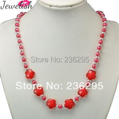 """Fashion Acrylic Necklaces for Kids,  Stretch Necklaces,  with Acrylic Imitation Pearl Beads,  Red,  18""""(China (Mainland))"""