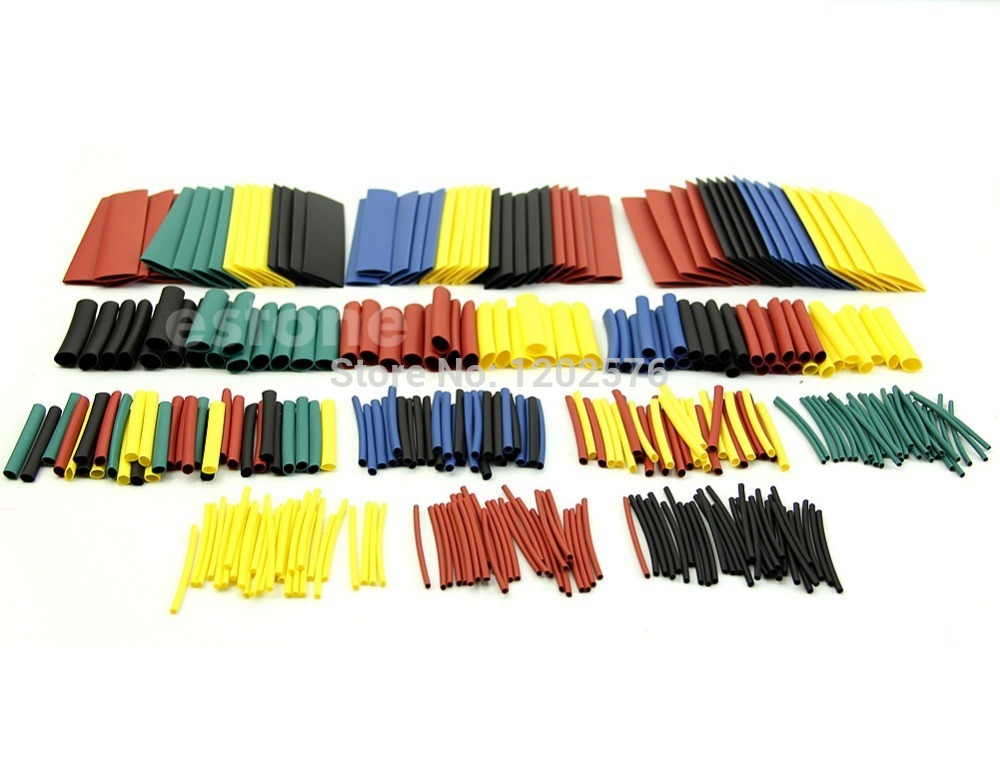 J34 Free Shipping 328 Pcs Assorted Heat Shrink Tube 5 Colors 8 Sizes Tubing Wrap Sleeve(China (Mainland))