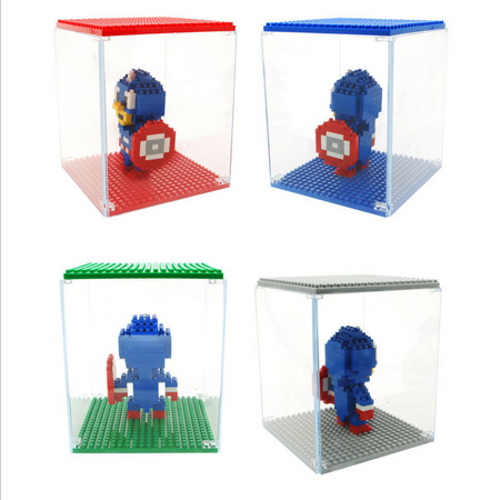 Hot Sale LOZ DIY display box for Minifigure block LOZ Diamond Bricks showing case ABS self locking bricks assemblage(China (Mainland))