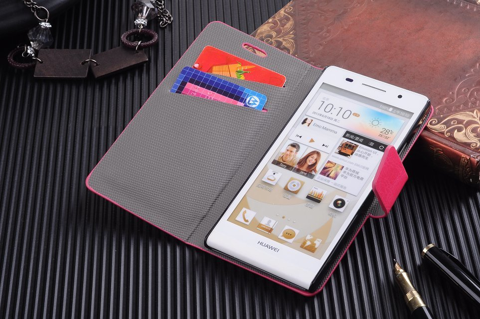 Simple Type Original Leather Wallet Style Case Huawei Ascend P6 Phone Covers ID Card Slot Stand Cover - Newoer Team store