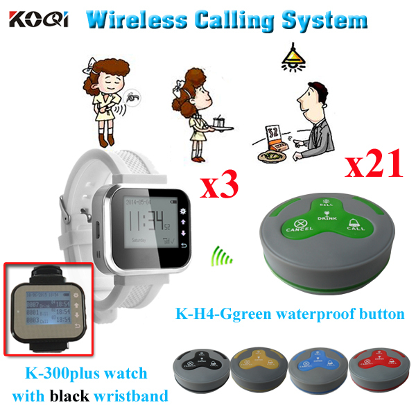 Guest Pager Calling System Waiter for Service Hotel Equipment ( 3pcs watch receiver pager + 21pcs waterproof call button)(China (Mainland))