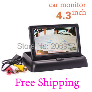 "4.3"" Foldable TFT Color LCD Car Reverse Rearview 16:9 4.3 inch car Security Monitor for Camera DVD VCR 12V(China (Mainland))"