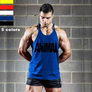 Pro Men Gym Muscle 100% Cotton Animal Tank tops bodybuilding Equipment Stringers Men's Y BACK Racer Vest fitness Workout Tops