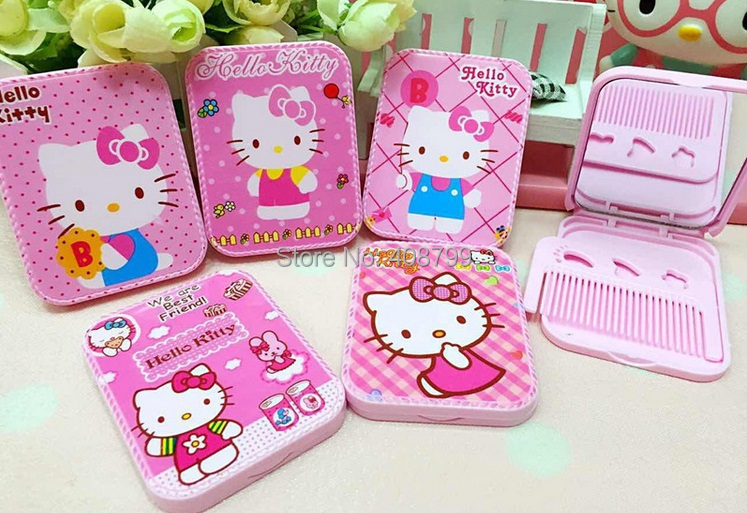Wholesale Hello Kitty Mirror with comb Pocket Makeup Mirror Cartoon Cosmetic Mirror Free shipping by DHL/Fedex 150pcs/lot(China (Mainland))