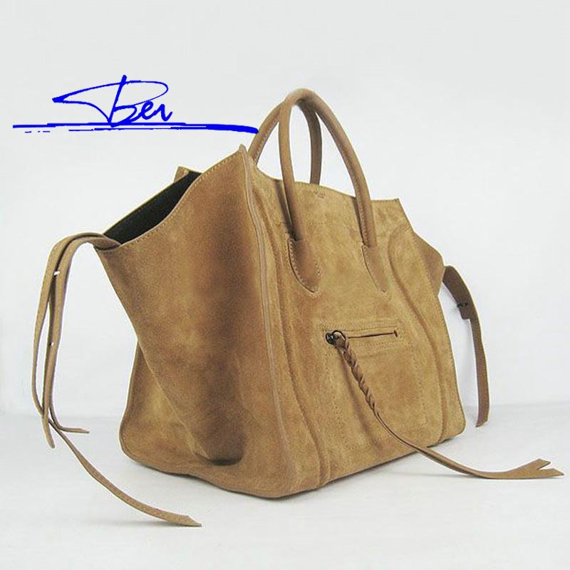 B15090503 Eurpean Women Bag Nubuck Genuine Cattle Leather Handbag Bat Smiling Face Women Leather Handbags(China (Mainland))