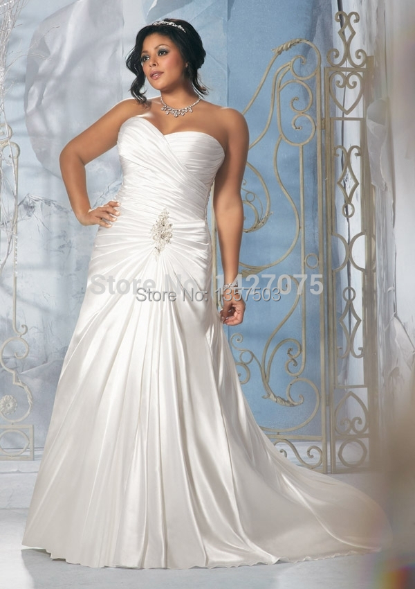 Gown2014 New White Lvory Plus Size A Line Satin Sweetheart Wedding Dress Brid