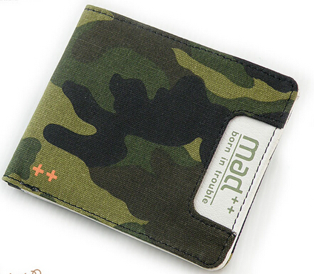 Camouflage Horizontal bifold men casual wallet purse handmade teen's teenage student canvas wallet with coin purse free shipping(China (Mainland))