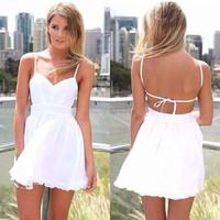2014 Women's Summer Dress Super Sexy Club Party Dresses Evening Night Club Elegant Chiffon Spaghetti Strap Dress 12