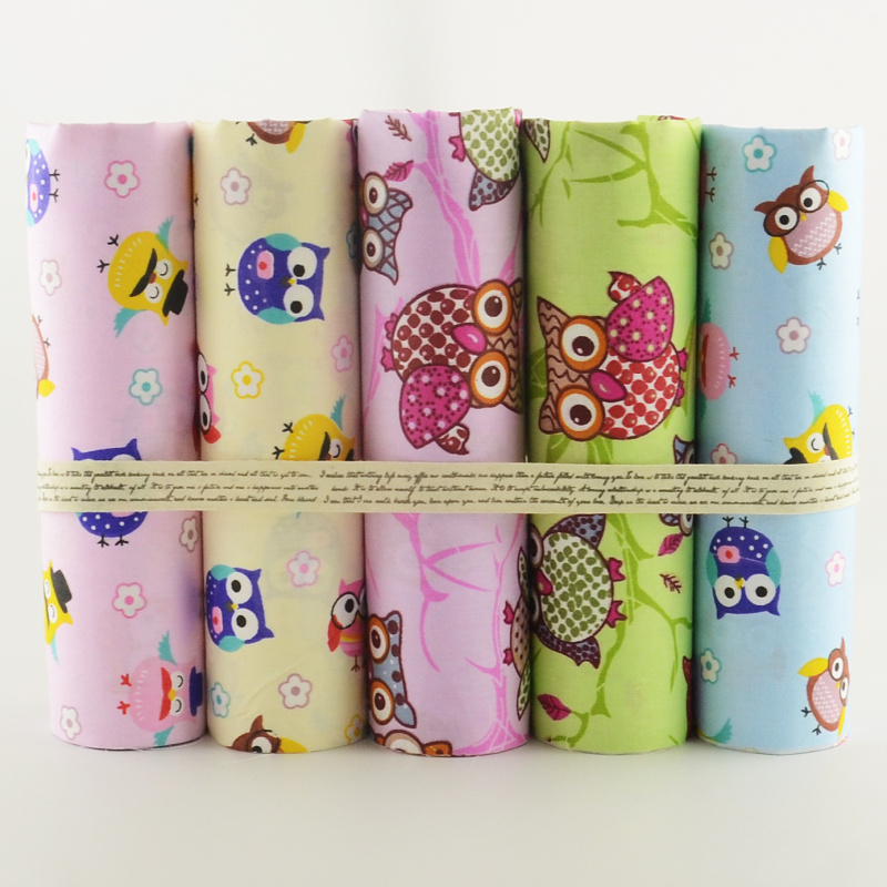 5pcs lot cotton fabric 40cmx50cm cartoon owls designs sets sewing tissus tild - Lot de tissu patchwork ...