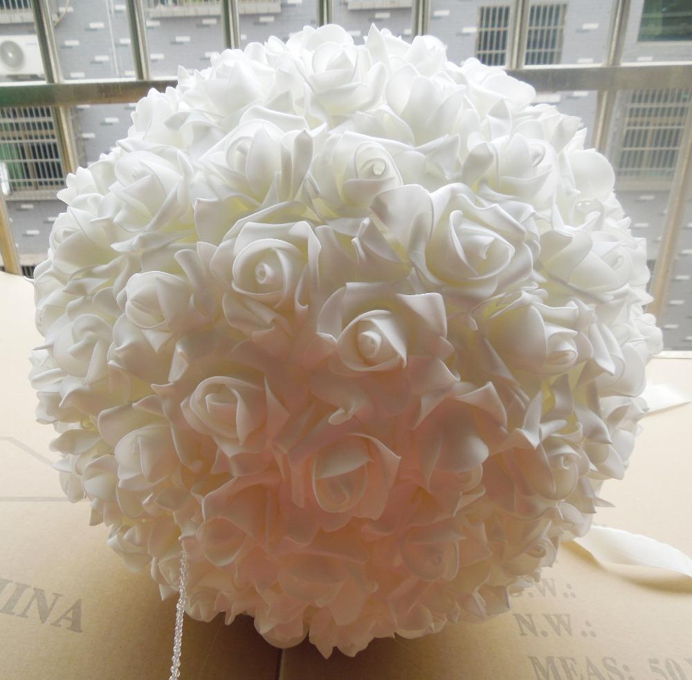 Free EMS Shipping 5pcs 13'' 33cm Artificial PE Foam Rose Kissing Balls Wedding Decoration Rose Balls(China (Mainland))