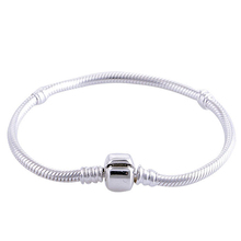 New Silver Plated Bead Charm Lobster Clasp Basic Snake Chain Beads Fit Women Pandora Bracelet & Bangle DIY Jewelry HKC0003(China (Mainland))