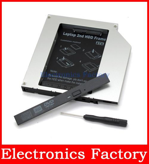 Universal 2.5 2nd 12.7mm Ssd Hd SATA Hard Disk Drive HDD Caddy Adapter Bay External 3.0 Case Enclosure For Cd Dvd Rom HP Lenovo(China (Mainland))