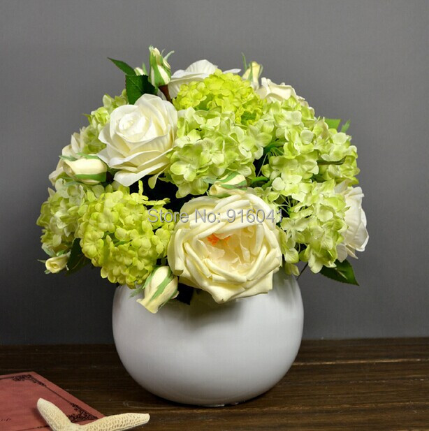 Flower Set -New Style PU Rose Hydrangea Real Touch Rose Decorative Flower Wedding Flower Dahlia Peony Party Event Free Shipping(China (Mainland))